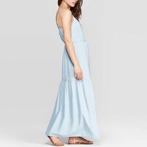 ❤️NWT Button front denim tiered maxi dress XS